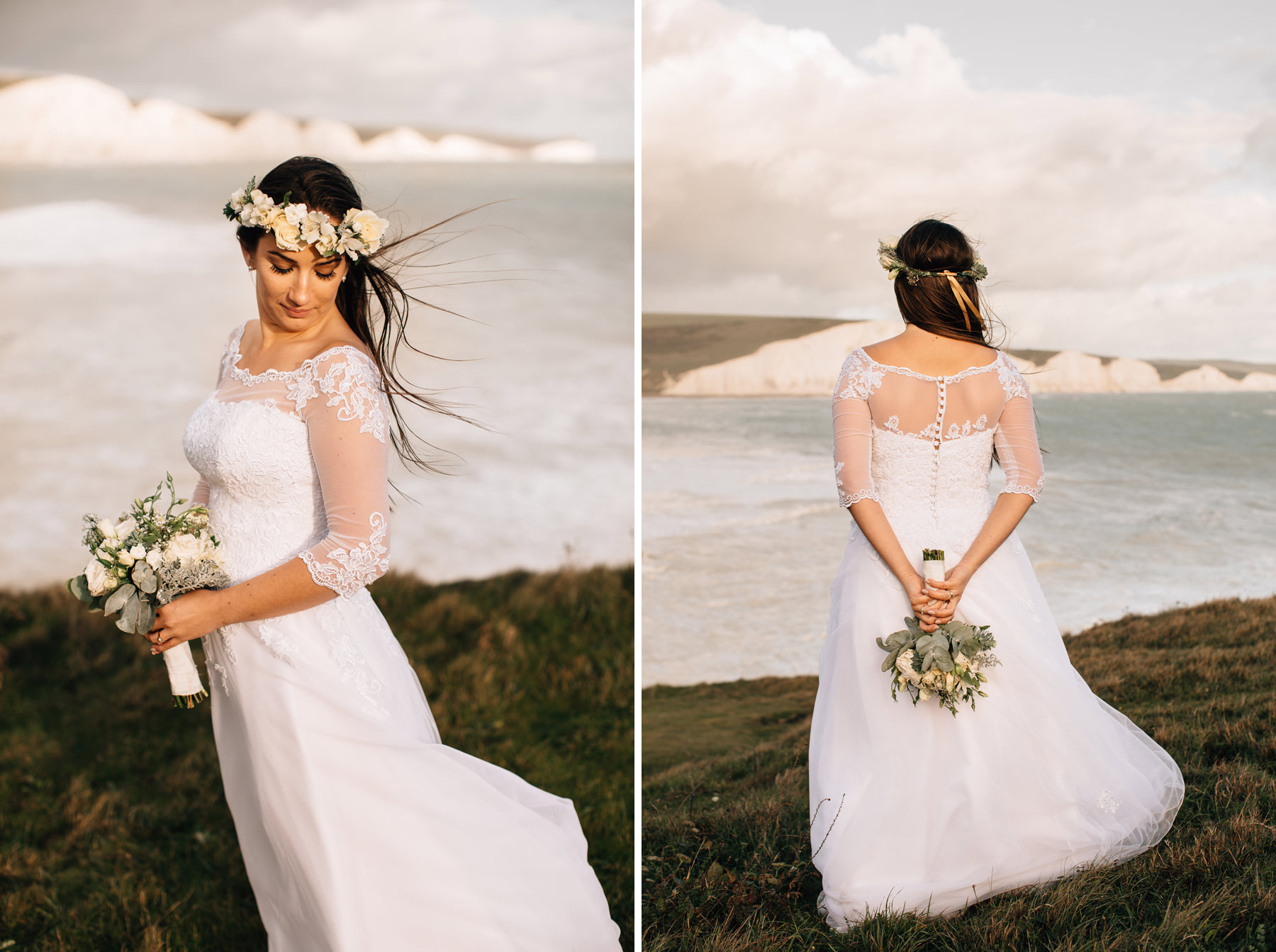 wedding dress, bridal portrait at seven sisters