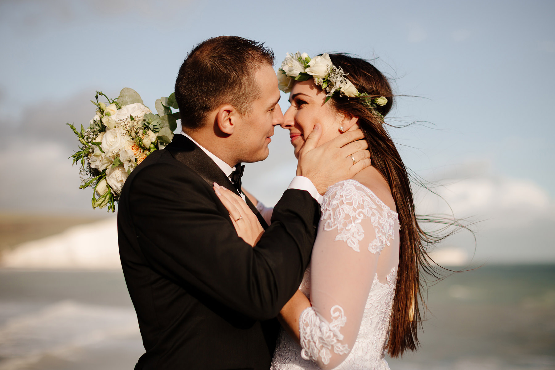 bride and groom at seven sisters