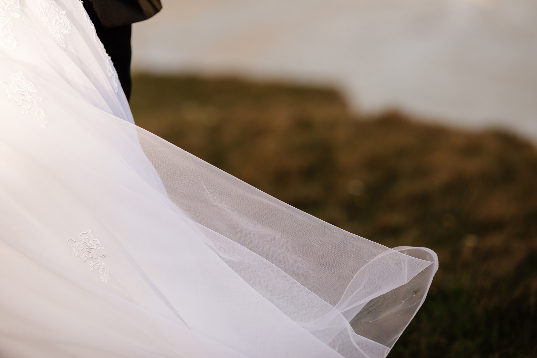 wedding dress detail outdoor