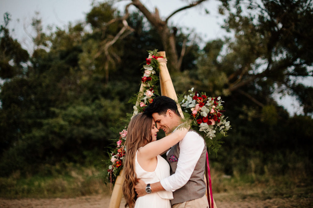 boho chic engagement, tipi wedding photoshoot