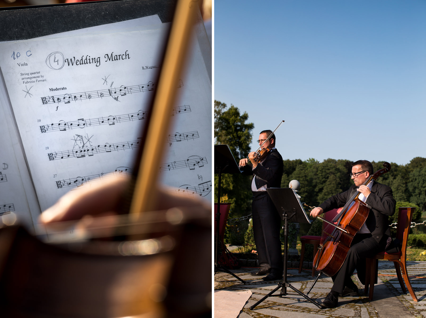 string quartet playing wedding march, outdoor wedding quartet